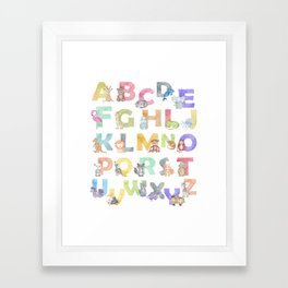 Watercolor Alphabet Animals Framed Art Print