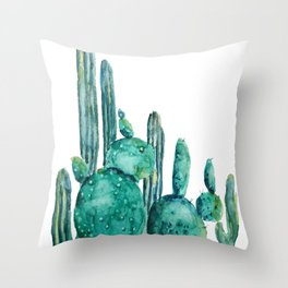 cactus jungle watercolor painting Throw Pillow