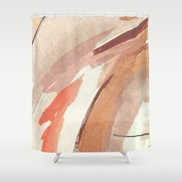 Aly: minimal   pinks   white   black   mixed media   abstract   ink   watercolor   wall art Shower Curtain
