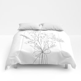 Small Wildflowers Minimalist Line Art Comforters