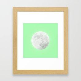 WHITE MOON + LIME SKY Framed Art Print