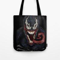 venom Tote Bags featuring venom by Fila Venom Art