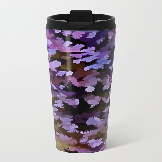 Foliage Abstract In Blue, Pink and Sienna Metal Travel Mug