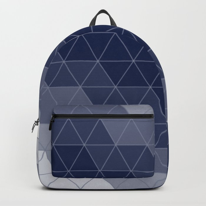 Indigo Navy Blue Triangles Backpack