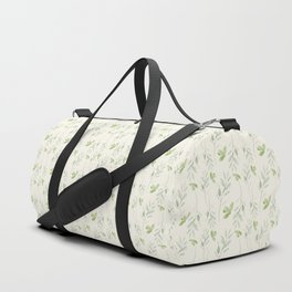 Hand painted watercolor pastel green ivory leaves floral Duffle Bag