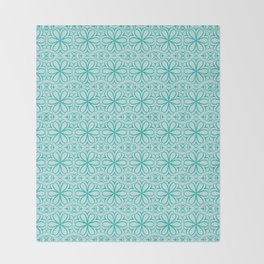 Victorian Floral Pattern turquoise Throw Blanket