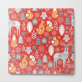 Scandinavian Christmas pattern on a red background. Deer, owls, foxes, trees and grass, snowflakes. Metal Print