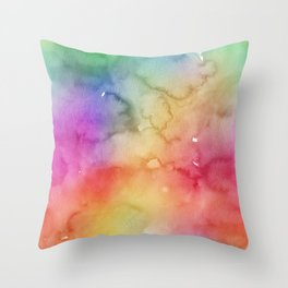 Bright Purple Green Blue Pink Pastel Rainbow Watercolor Ombre Shades Throw Pillow