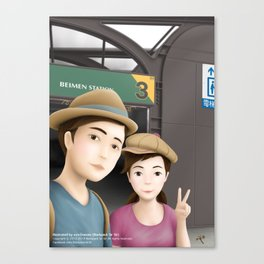 Backpack Sir Sir & Fern take a photo of Selfie at MRT Beimen Station Canvas Print