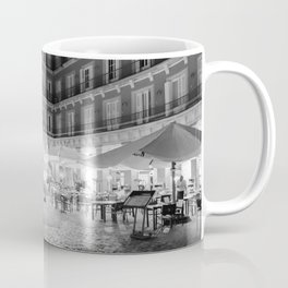 Night Time at the Plaza Mayor of Madrid BW Coffee Mug