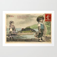 The April Fish - Vintage / Antique French Post Card - Piosson D'Avril - April Fools Day Art Print