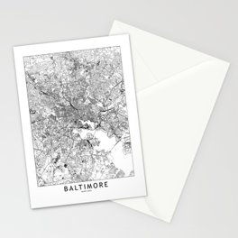 Baltimore White Map Stationery Cards