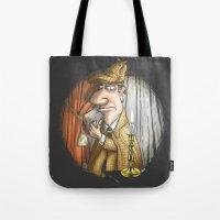 sherlock holmes Tote Bags featuring Sherlock Holmes! by Berni Store