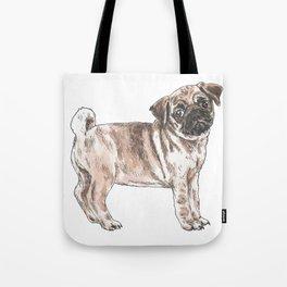 Cute Sad Pug - (in colour) Tote Bag