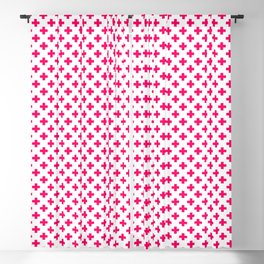 Hot Neon Pink Crosses on White Blackout Curtain