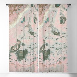 Fluid Art Acrylic Painting, Pour 19, Light Pink, Gray Blue & White Blended Color Blackout Curtain