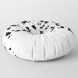 Terrazzo Texture Black and White #8 Floor Pillow
