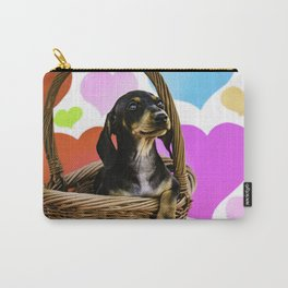 Dachshund Puppy Sitting in a Basket with One Paw Hanging with Valentine's Day Heart Background Carry-All Pouch