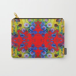 WESTERN YELLOW & RED GARDEN GOLD BLUE FLOWERS Carry-All Pouch