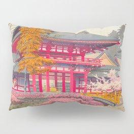 Japanese Woodblock Print Vintage Bright East Asian Red Pagoda Spring Garden Pillow Sham
