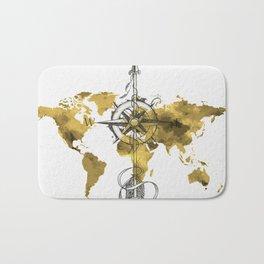 Gold World Map 2 Bath Mat