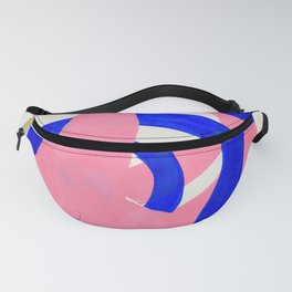Abstract Painting Mid Century Modern Abstract Funky Sound Waves Pink Blue Shapes Fanny Pack