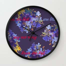 Violets are Blue Wall Clock