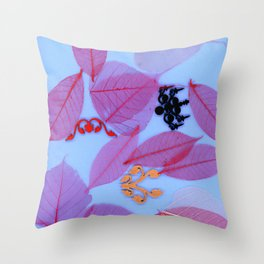RED LEAVES w/ FILIGREE Throw Pillow