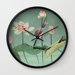 Sacred Lotus Flower Wall Clock