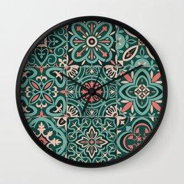 Peranakan Art Nouveau Tiles (Mixed Patterns in Peach Garden) Wall Clock