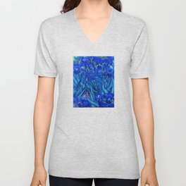 Van Gogh Irises in Indigo Unisex V-Neck