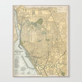 Vintage Map of Buffalo New York (1891) Canvas Print