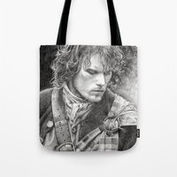 outlander Tote Bags featuring James Fraser by ellaine