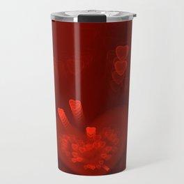 Red Hearts St. Valentine's Galentine's Sweetest Day love Burgundy Bordo Vinous Ruby Garnet Pattern Travel Mug