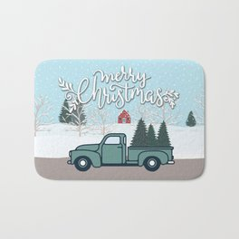 Merry Christmas Vintage Truck with Trees Bath Mat