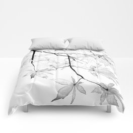 black and white maple leaves Comforters