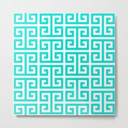 Tropical Turquoise and White Greek Key Pattern Metal Print