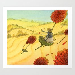 Flying Flowers Art Print