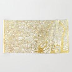 Tokyo Map Gold Beach Towel