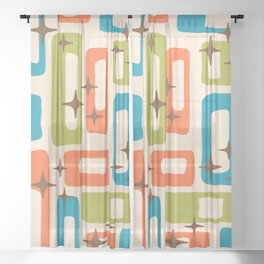 Retro Mid Century Modern Abstract Pattern 921 Orange Chartreuse Turquoise Sheer Curtain