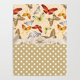 Assorted Butterflies and Polka Dots Poster