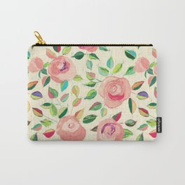 Pastel Roses in Blush Pink and Cream  Carry-All Pouch