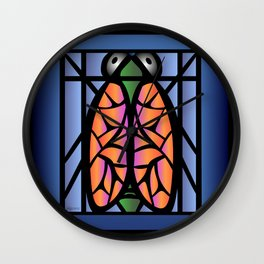 Stained Glass Cicada Wall Clock