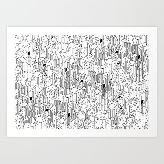 Little Escher's Building Blocks Art Print