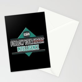 Follow your intelligence instead of your heart INTJ MBTI quote in black and turquoise Stationery Cards