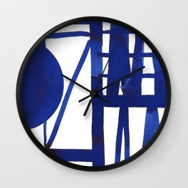 Blue grid -abstract minimalist ink painting Wall Clock