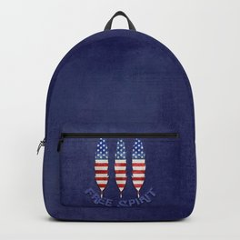 American Flag Stars and Stripes Free Spirit Feather Backpack