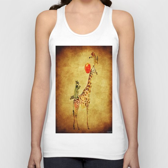 By playing on the giraffe Unisex Tank Top