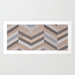 Reclaimed Barnwood Herringbone Pattern Art Print