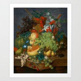 "Jan van Os  ""Fruit still life with a mouse on a ledge"" Art Print"